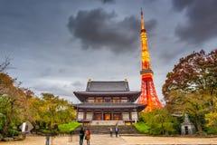 Tokyo Japan torn och tempel Arkivbild