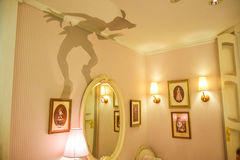 TOKYO, JAPAN: Wendy`s room with Peter Pan`s shadow on the wall setup in Disneystore located at Shibuya, Tokyo royalty free stock photography