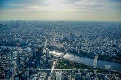 TOKYO, JAPON - MAI 2016 : Vue aérienne de ville de Tokyo prise à partir du dessus de la tour de Tokyo Skytree Photos libres de droits
