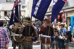 Tokyo, Japon - 24 septembre 2017 : Visiteurs observant le défilé avec des samouraïs au festival de Shinagawa Shukuba Matsuri Photographie stock