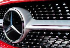 TOKYO - JUNE 1, 2016: Mercedes Benz logo close-up. Mercedes-Benz Royalty Free Stock Photo