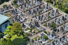 Tokyo kyrkogård från över Royaltyfri Fotografi