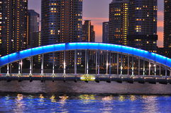 Tokyo la nuit - pont de bashi d'Eitai Photo libre de droits