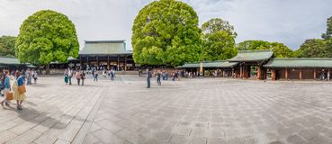 TOKYO - MAY 20, 2016: Tourists visit Meiji Shrine park. Tokyo is. Visited by 15 million people every year stock image