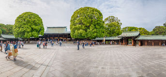 TOKYO - MAY 20, 2016: Tourists visit Meiji Shrine park. Tokyo is. Visited by 15 million people every year royalty free stock image