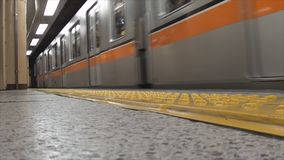Tokyo Metro Subway, Ginza line will arriving at Ginza station. Tokyo, Japan - May 6, 2014 : Tokyo Metro Subway, Ginza line will arriving at Ginza station and stock footage