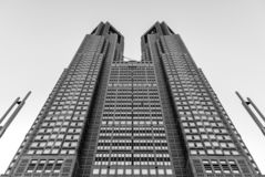 Tokyo Metropolitan Twin Tower - Black and White from below royalty free stock photos