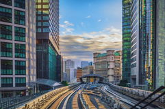 Tokyo monorail transportation system line in Odaiba. View from moving car stock photography
