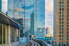 Tokyo monorail transportation system line in Odaiba. Royalty Free Stock Photography