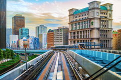 Tokyo monorail transportation system line in Odaiba. View from moving car Stock Photos