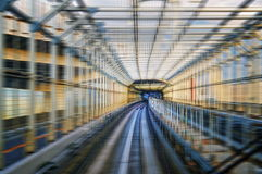 Tokyo monorail transportation system Yurikamome Line in tunnel. Blurred with speed Royalty Free Stock Photos