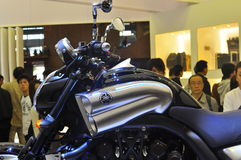 Tokyo Motor Show Japan. This is a concept motorbike from Yamaha, with a brand-name VMAX. It holds two exhaust barrels and had a very trendy look from side and Royalty Free Stock Images