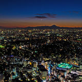 Tokyo and the mount Fuji at night Royalty Free Stock Photography