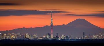 Tokyo-Nachtansicht mit Mt Fuji- und Tokyo-skytree Stockfoto