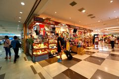 Tokyo: Narita airport before immigration check in retail area. Stock Photo