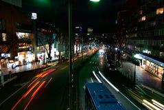 Tokyo natttrafik royaltyfria foton
