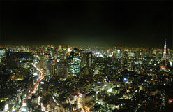 Tokyo by night. View of Tokyo at night with a high view point Royalty Free Stock Images