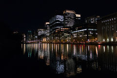Tokyo Skyline at Night with Water Reflections Royalty Free Stock Image