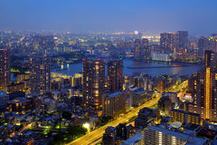 Tokyo at night. Aerial view of Tokyo, Japan at night from St. Luke garden Stock Photo