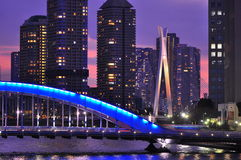 Tokyo at night - Eitai bashi bridge. Scenic Eitai bridge over Sumida river at night time, Tokyo Japan Stock Photos