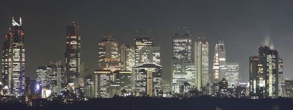 Tokyo at night panorama Royalty Free Stock Images