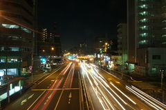 Tokyo Night Road. A night time shot of a busy road in Tokyo Japan Stock Images