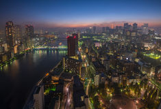 Tokyo night scene, panoramic view Royalty Free Stock Images