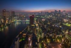 Tokyo night scene, panoramic view Royalty Free Stock Images
