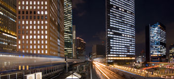 Tokyo Night Trains Royalty Free Stock Image