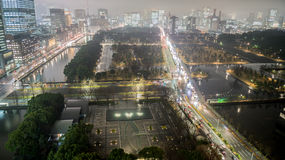 Tokyo by night. Night view on Kokyogaien National Garden in Tokyo, Chiyoda and Minato Districts with Uchibori and Hibiya Streets, Japan stock photos