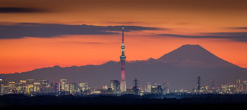 Tokyo night view with Mt.Fuji and Tokyo skytree Stock Photo