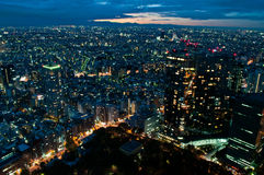 Tokyo at nightfall. View on night Tokyo from Tokyo Metropolitan Government Building Stock Images
