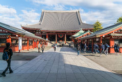 TOKYO-NOV 16: Crowded people at Buddhist Temple Sensoji on November 16, 2016 in Tokyo. Japan. The Sensoji temple in Asakusa area is the oldest temple in Tokyo royalty free stock photo