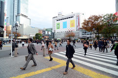 TOKYO - NOVEMBER 28: Crowds of people crossing the center of Shi Stock Image