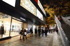 TOKYO - 24. NOVEMBER: Einzelhandelsgeschäfte auf Omotesando-Straße nachts Lizenzfreie Stockfotos