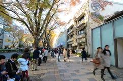 TOKYO - NOVEMBER 24: Folk som shoppar i Omotesando Royaltyfri Foto