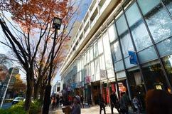 TOKYO - NOVEMBER 24: Folk som shoppar runt om Omotesando Arkivbild