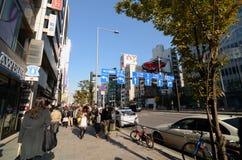 TOKYO - NOVEMBER 24: Folket på den Omotesando gatan på November 24 2013 Royaltyfria Foton