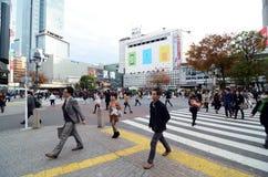 TOKYO - 28. NOVEMBER: Mengen von den Leuten, welche die Mitte von Shi kreuzen Stockbild