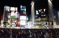 TOKYO - NOVEMBER 28: Pedestrians at the famed crossing of Shibuy Royalty Free Stock Photo