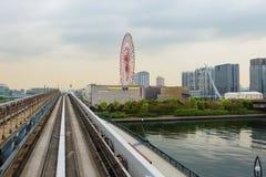 Tokyo Odaiba ö Linje Yurikamome Ferris Wheel Royaltyfria Foton
