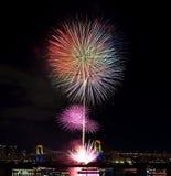 Tokyo odaiba bay fireworks Stock Images