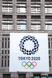 Tokyo Olymics 2020. TOKYO, JAPAN - June 23 2016: Posters shown on the Metropolitan Government Building as Tokyo prepares to take over the Olympic Games from Rio Stock Image