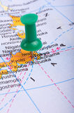 Tokyo op kaart Stock Foto
