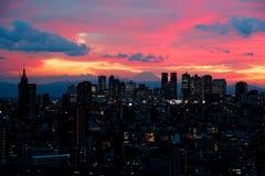 Tokyo på solnedgången arkivfoto