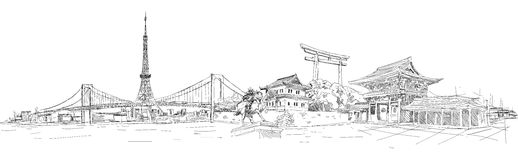 TOKYO panoramic illustration. Vector hand drawing pencil sketch tokyo panoramic view stock illustration