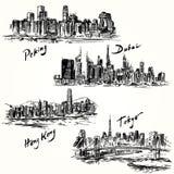 Tokyo, Peking, Hong Kong, Doubai royalty-vrije illustratie