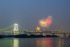 Tokyo rainbow bridge with beautiful firework Stock Photos