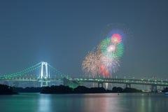 Tokyo rainbow bridge with beautiful firework Royalty Free Stock Image