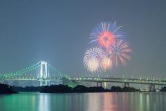 Tokyo rainbow bridge with beautiful firework Stock Photography
